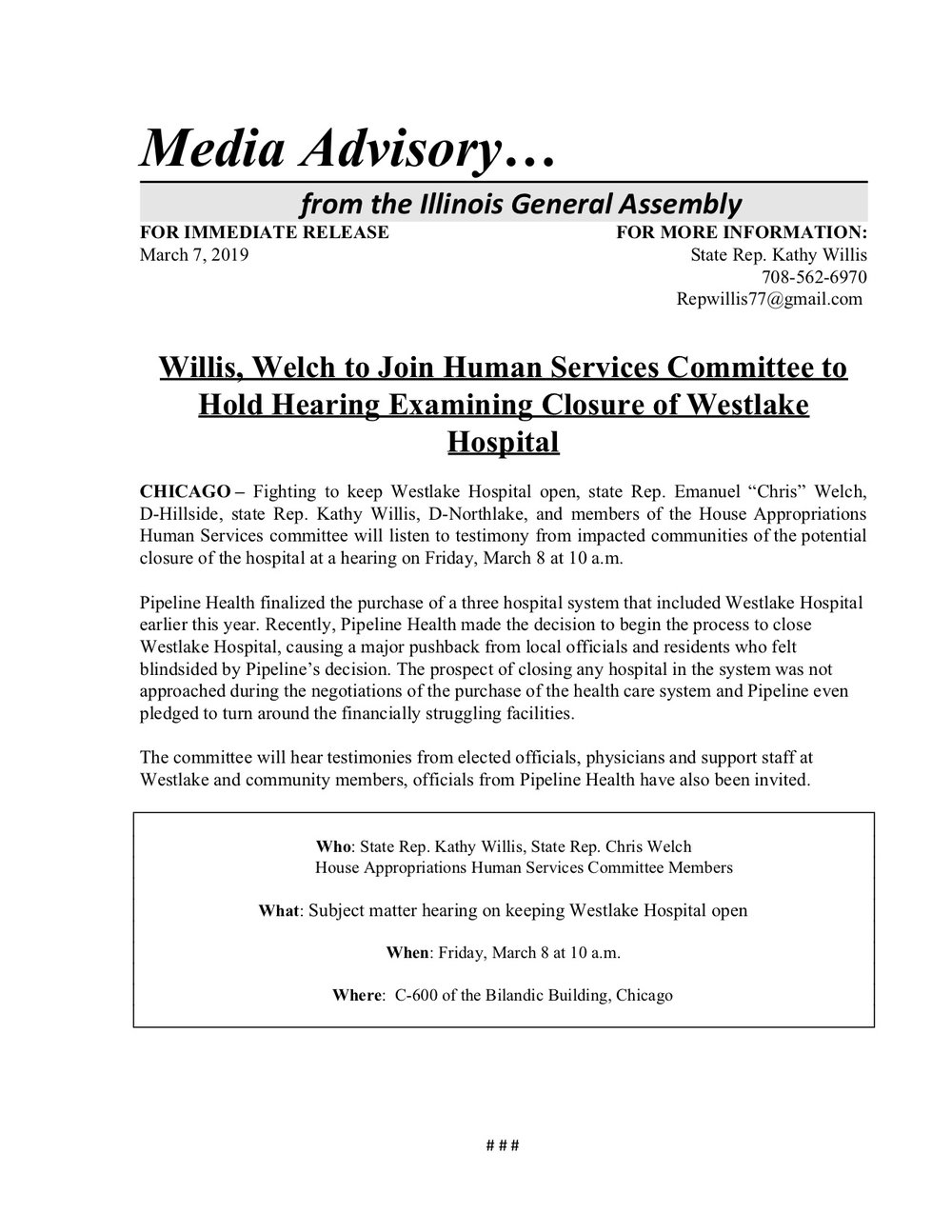 Willis, Welch to Join Human Services Committee to Hold Hearing Examining Closure of Westlake Hospital  (March 7, 2019)