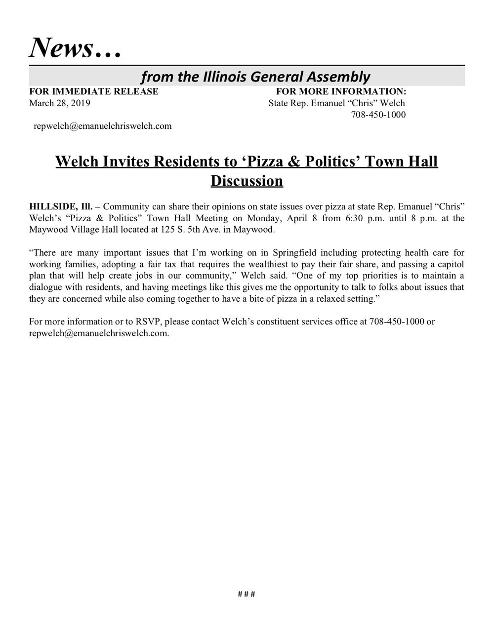 Welch Invites Residents to 'Pizza & Politics' Town Hall Discussion  (March 28, 2019)