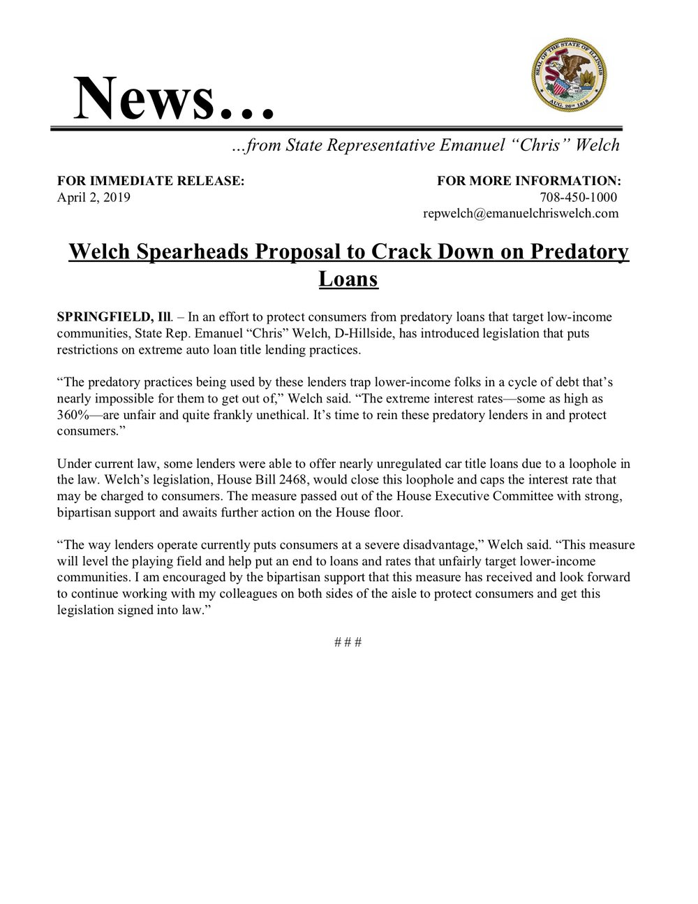 Welch Spearheads Proposal to Crack Down on Predatory Loans  (April 2, 2019)