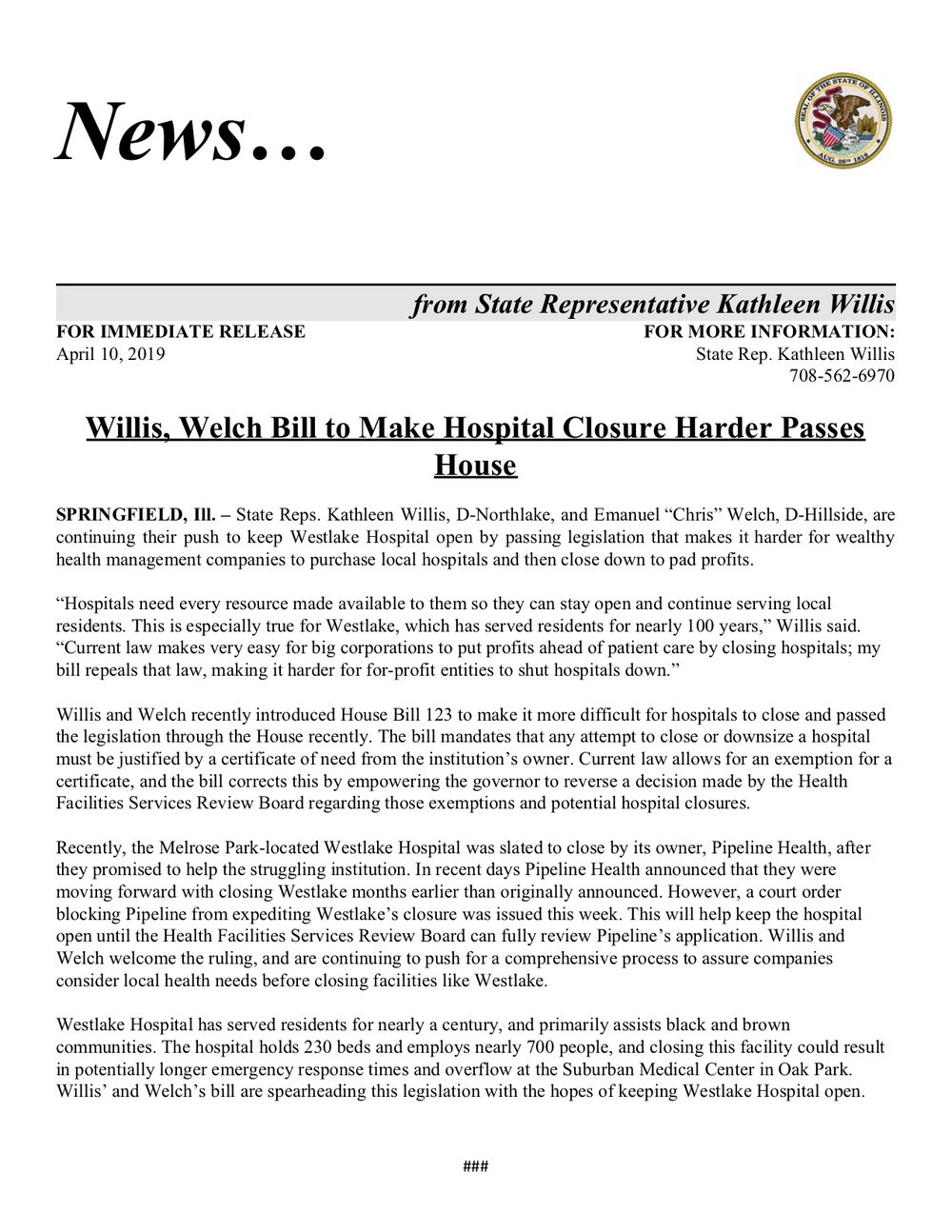 Willis, Welch Bill to Make Hospital Closure Harder Passes House  (April 12, 2019)
