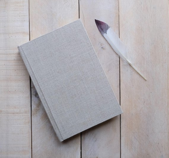 This natural linen journal from Small Oak Studios, available in 7 earthy colors