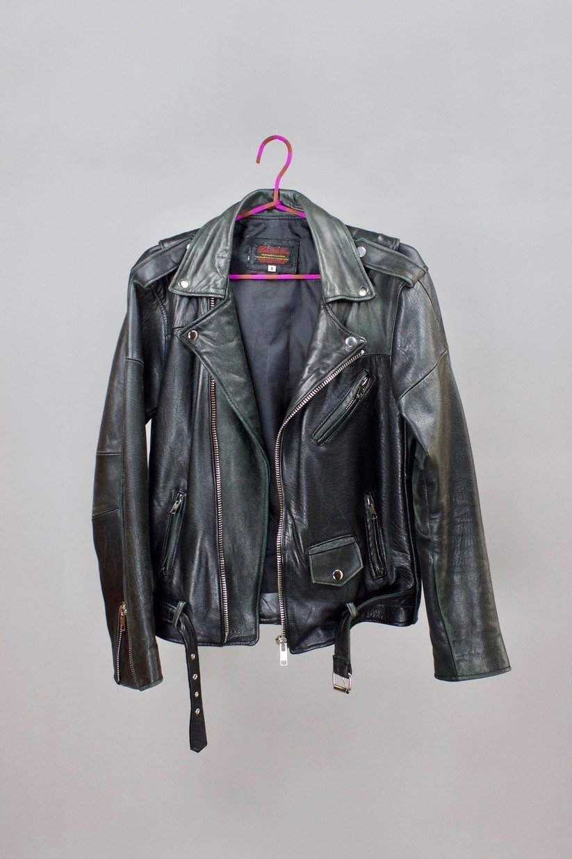 Black leather jacket   Classic biker jacket made from reworked vintage leather by Pele Che Coco.