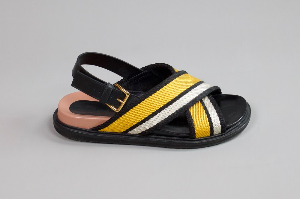 Leather and cloth sandals   Graphic, chunky, playful and bold coloured design by Marni.