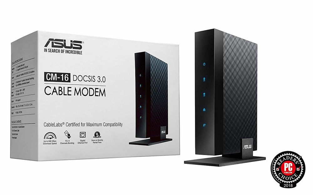 ASUS CM-16 DOCSIS 3.0 16x4 686 Mbps Cable Modem - $63.93 - $16.06 off or 20%