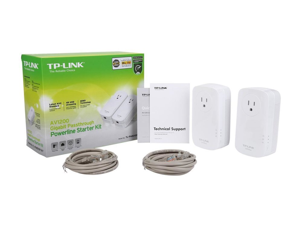 TP Link AV1200 Gigabit Passthrough Powerline Starter Kit, 2 Pack - $59.49 - $20.50 off or 26%