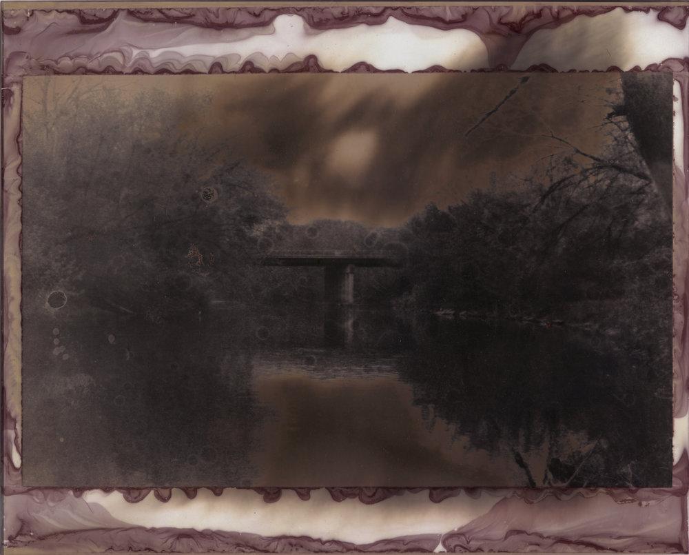 Bridge Over Flint 24  2016  silver gelatin print developed with Flint, Michigan tap water,  vitamin C, bleach, and wine  8 x 10 inches