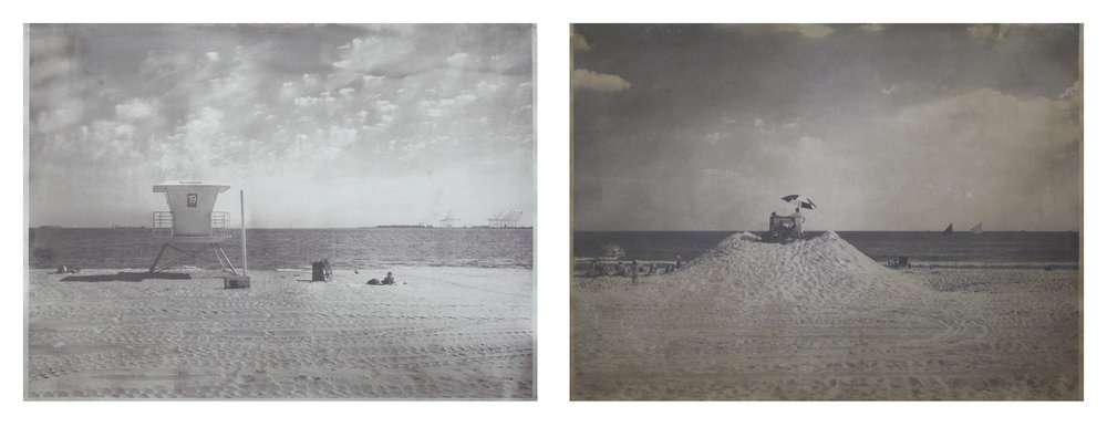 Long Beach, CA, Long Beach, NY  2008 - 2010  salted paper print with water from the  Pacific Ocean and Atlantic Ocean  30 x 40 inches each panel, 30 x 80 inches