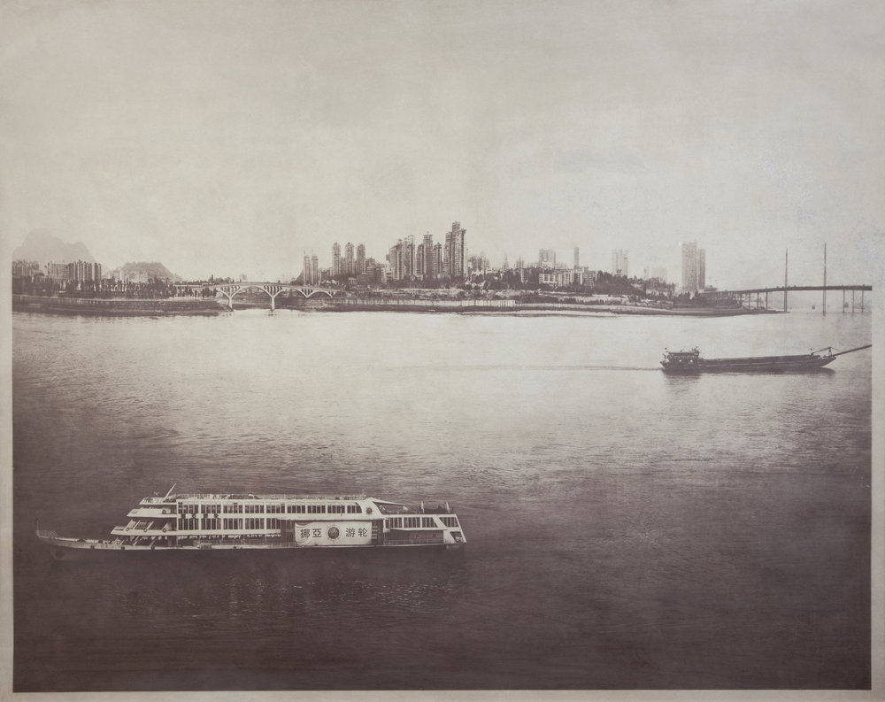 Two Ships Passing, China  2011  salted paper print with Xianjiang River water  42 x 52 1/2 inches