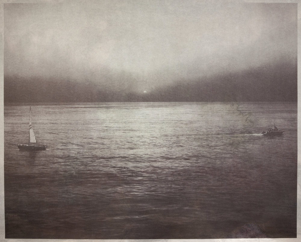 Two Ships Passing, U.S.  2011  salted paper print with Pacific Ocean water  42 x 52 1/2 inches
