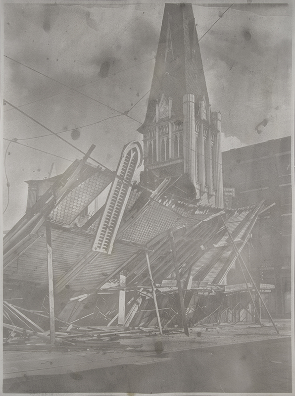 00075328-2, LA Churches - First Christian Church 1961'  2013  gum bichromate print on paper with dust swept from  Met Lofts lobby and level 1 hallways  58 x 43 3/5 inches