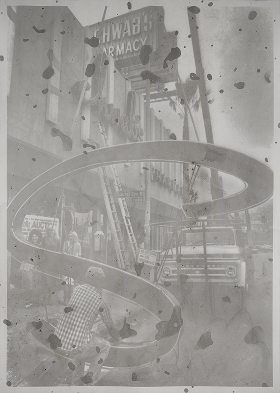 "SDS-042-2, Removing the Letter ""S"" from the Sign During  Demolition of Schwab's Drug Store 1983  2013  gum bichromate print on paper with dust swept from  Trader Joe's grocery store  62 x 42 inches"