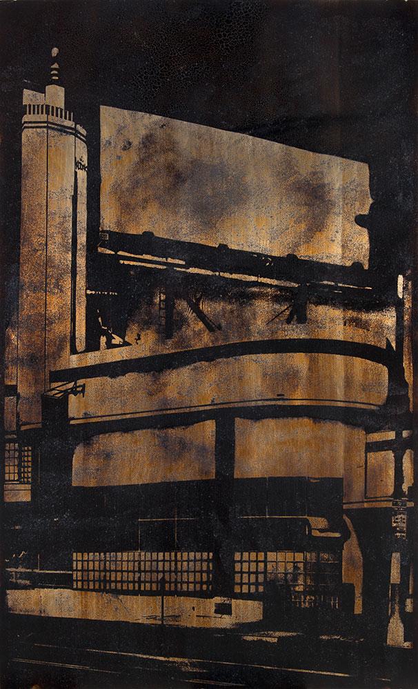 La Brea Blvd. Kodak  2013  Heliograph, sun cured tar collected from La Brea Tar Pits,   Los Angeles, CA, on aluminum  72 x 42 inches