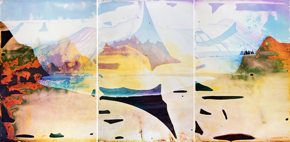 Lake Isabella CA TC 5  2014  triptych c-print soaked in Lake Isabella water  91 3/4 x 62 1/2 inches each panel, 91 3/4 x 187 1/2 inches