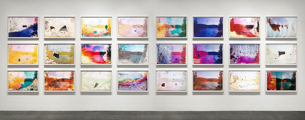 Rainbow Lake WY G1, G2  2013  c-print soaked in Rainbow Lake water  grid of twenty four 20 x 30 c-prints, 60 x 240 inches