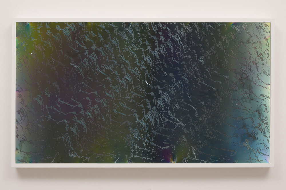LCD 55.4  2015  plastic resin on plastic with polarization lenses in LED lightbox frame  27 ¼ x 48 ¼ x 2 ¾ inches