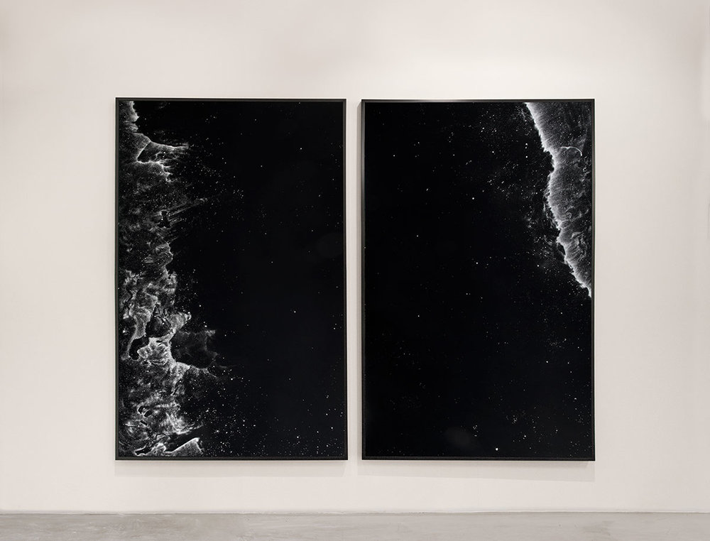 NGC 3324  2013  cocaine dust on photographer's velvet  73 x 46 inches each panel, 73 x 92 inches