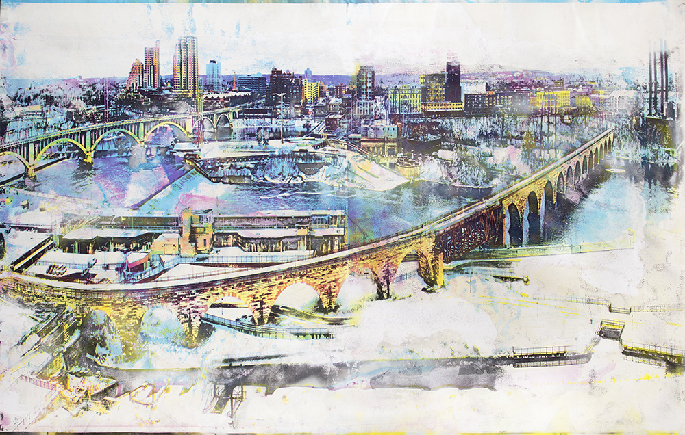 Gold Medal Z YKCM  Gold Medal Flour, watercolor pigment, and Mississippi River water on paper  49 x 79 1/4 inches