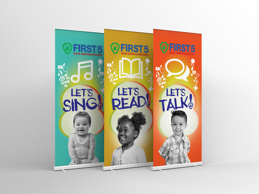 Event Branding - Additional elements for Talk. Read. Sing.® theme. Standing banners for separate interactive event spaces.