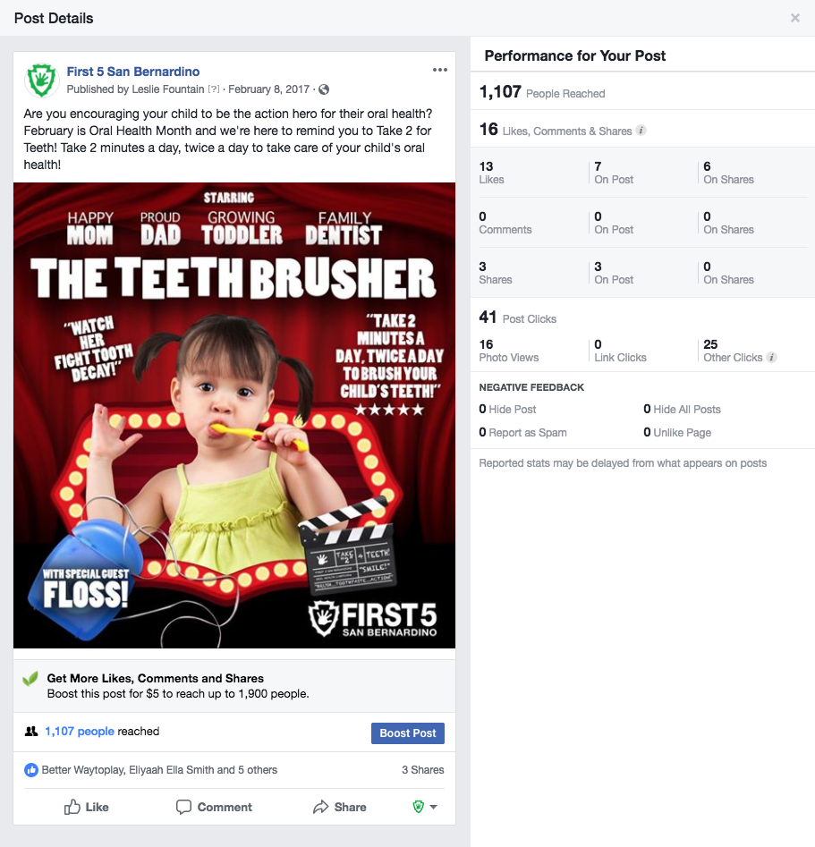 Oral Health Campaign - Print, Out-Of-Home & Social Media Messaging Campaign reached more than 1.1 million impressions. Media buys included placements in local and ethnic media for Hispanic and African-American newspapers and malls.