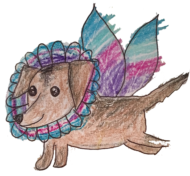 "The original artwork for ""Molly the Fairy Dog"" done by the Fischer's babysitter, Sara Painter, and colored by their daughter."