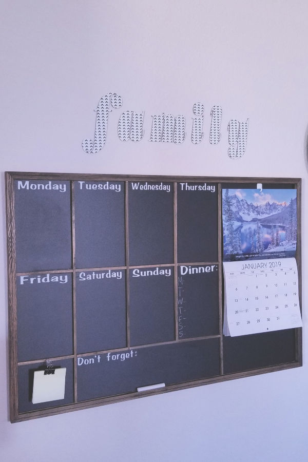 Diy chalkboard calendar - I customized an already framed chalkboard from Hobby Lobby to create this weekly/monthly calendar with a reminder function. If your family is anything like mine, you need everything written down!