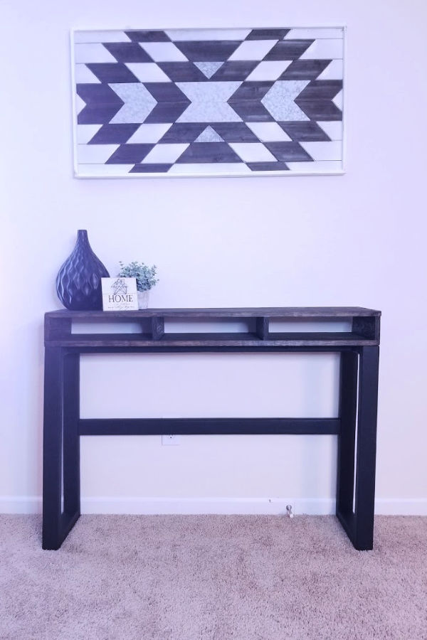 Console table - I completed this diy console table over a week and a half, and it was so worth it. I ended up with a custom piece for under $50!