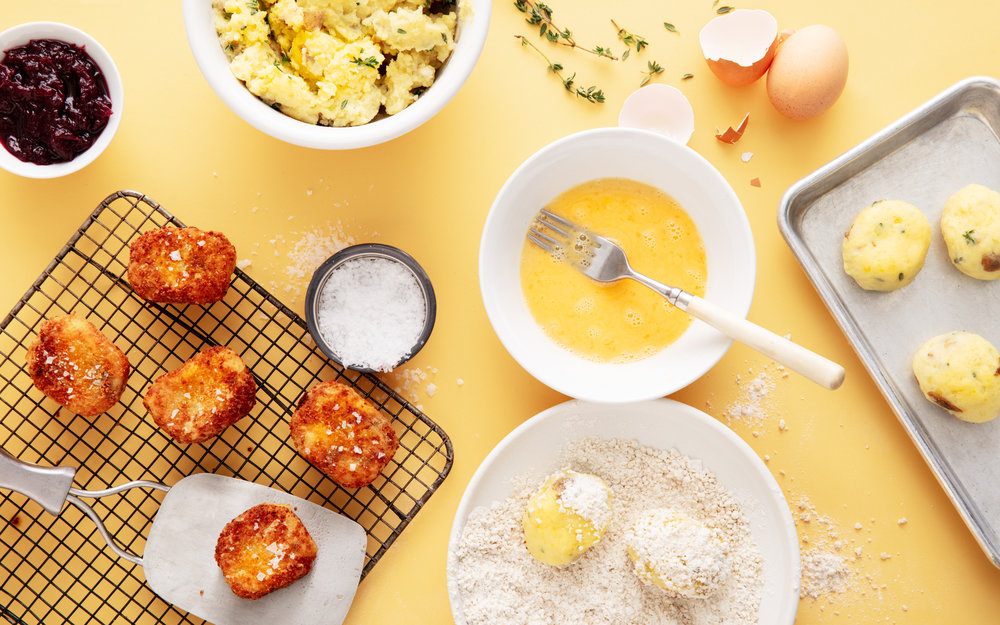 make croquettes from mashed potatoes and any leftover veggies