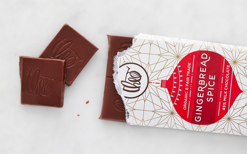 Theo Chocolate   Organic Gingerbread Spice Milk Chocolate Bar     $3.99