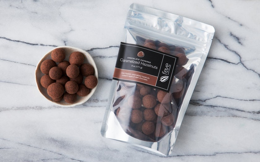 Feve Artisan Chocolatier   Chocolate Covered Caramelized Hazelnuts     $11.99