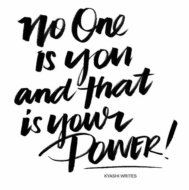 """No one is you & that is your power 👌🏾 . This is one of my favorite quotes of all time. For so long I didn't like myself. Or I tried to be someone else...someone that everyone would like.🤞🏽 🌛 And in that pursuit I completely lost who I was...I was confused,unhappy and unfilled.😟😰 🌙 It's just been recently that I challenged myself to live out loud..and be who I am. And do what I feel with no mind to what others will think...or how that will perceive me.🤪 ⚡️ And I realized that not giving a shit is a power...and a muscle. You literally have to expertise and massage it. And then...it becomes so automatic..🗝 🌔 I talk to so many people who say...""""I want to do this. I wish I could do/be this."""" And the bottom line is - you're afraid. You're hiding behind your excuses and robbing the world and your life of who you truly are.🤯 ✨ Be the purest expression of you. That's what we all need. Don't be afraid to have feelings...thoughts..emotions and desires.❤️ 💫 I challenge you to do something today that feels so good and in tune to YOU! 🎀 . Whether that's posting that bikini pic on insta. Saying no to hanging out with people you don't like after church. Stop going to church if you fell out of love with God and you fucking don't want to go but feel obligated.  Be real. Be true. Be honest. Be you. 🔮 . And I promise it will all find you in the end 👌⭐️"""