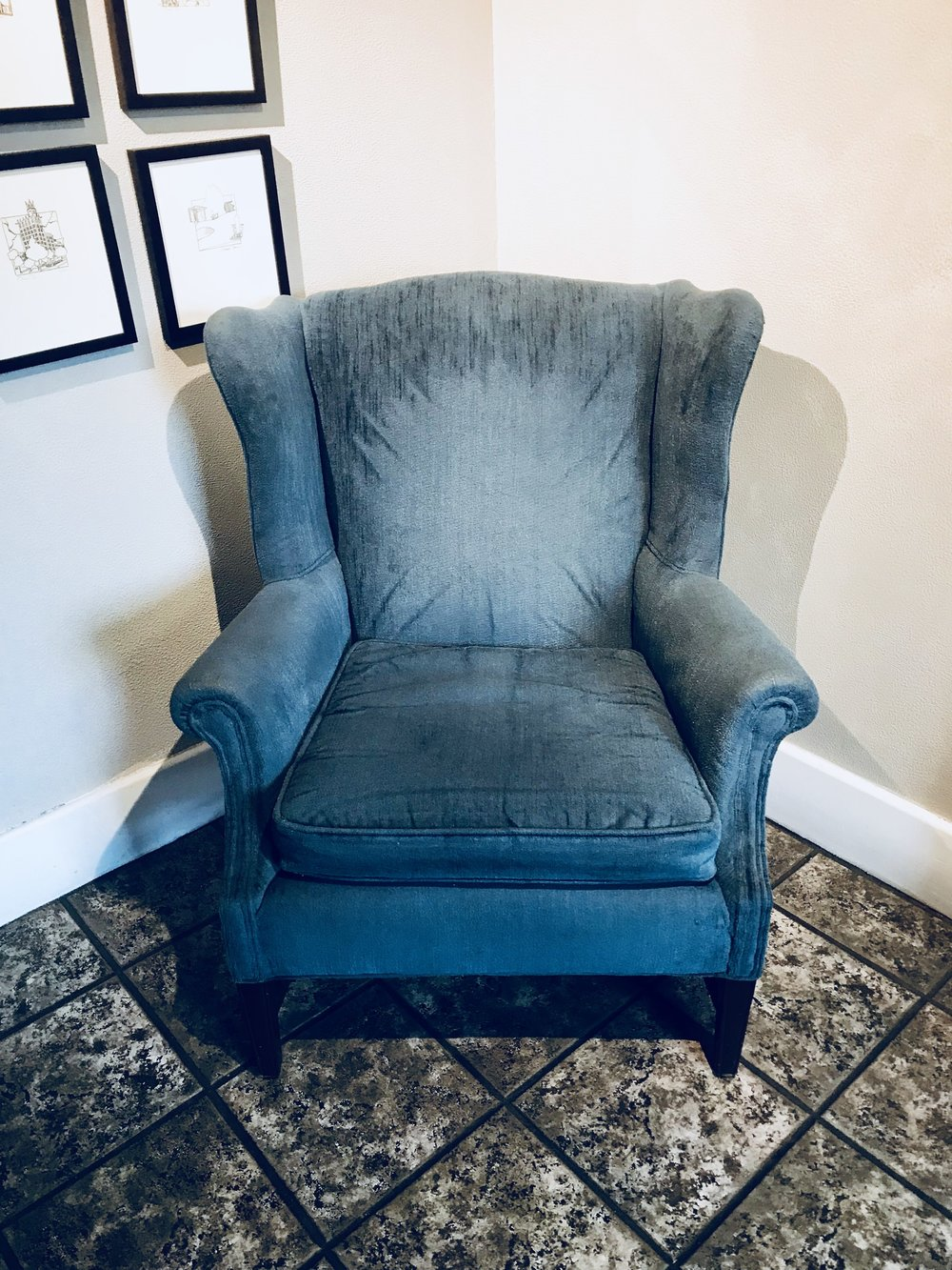 <p><strong>Blue Wingback Chair</strong>$40</p>