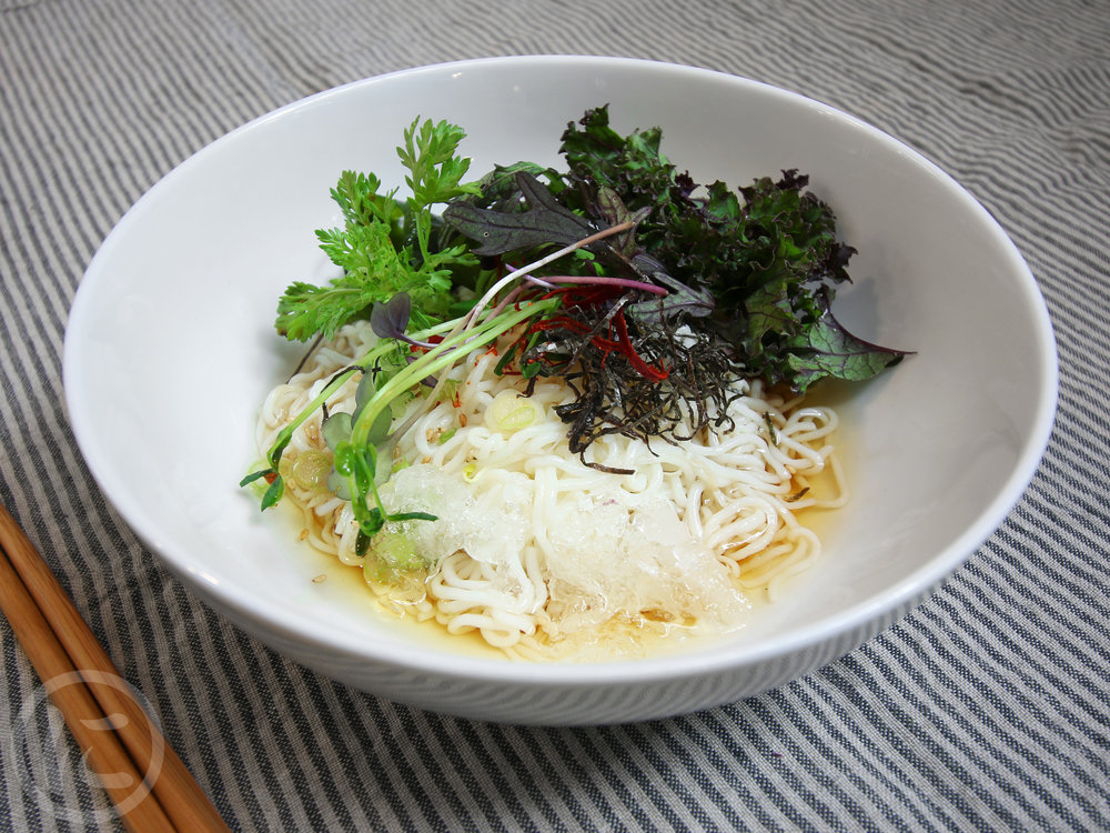 Cold Noodles with Dipping Broth  Gluten-free noodles seaweed, baby arugula, nori, tempura crunch, yuzu, spices.