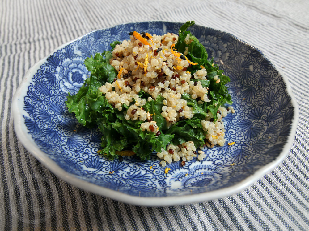 Organic Miso Coconut Quinoa with Kale  Steamed kale, coconut miso, simmered quinoa, orange zest. Add Wild-caught Spicy Tuna or Jerk Tofu.