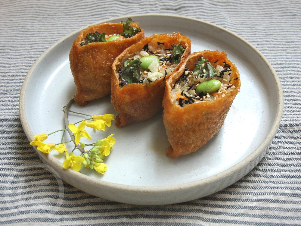 Inari  Beancurd, brown rice, sesame seed, edamame