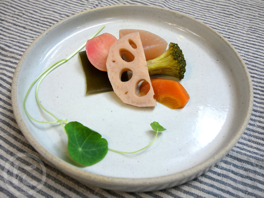 Nimono (Stewed Vegetables)  Seasonal vegetable simmered in vegan broth