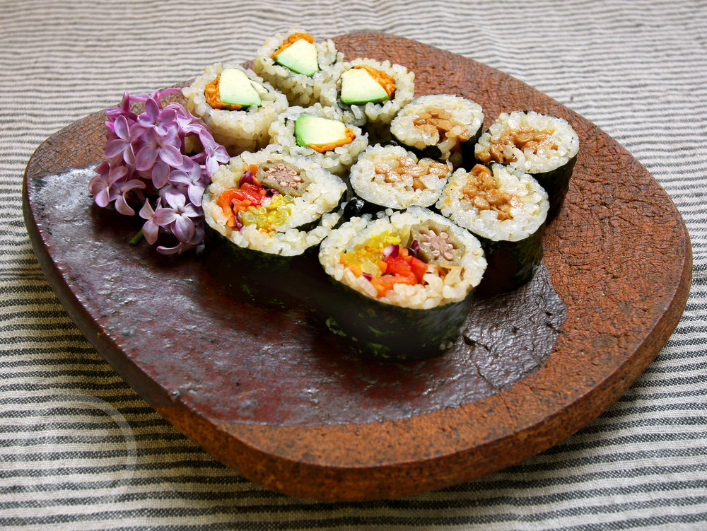Assorted Daily Sushi  Gluten-free. Seasonal options (Vegan and Fish): - Nato - Avocado - Salmon roe - Don't see something you like? Just ask us and we can make it!