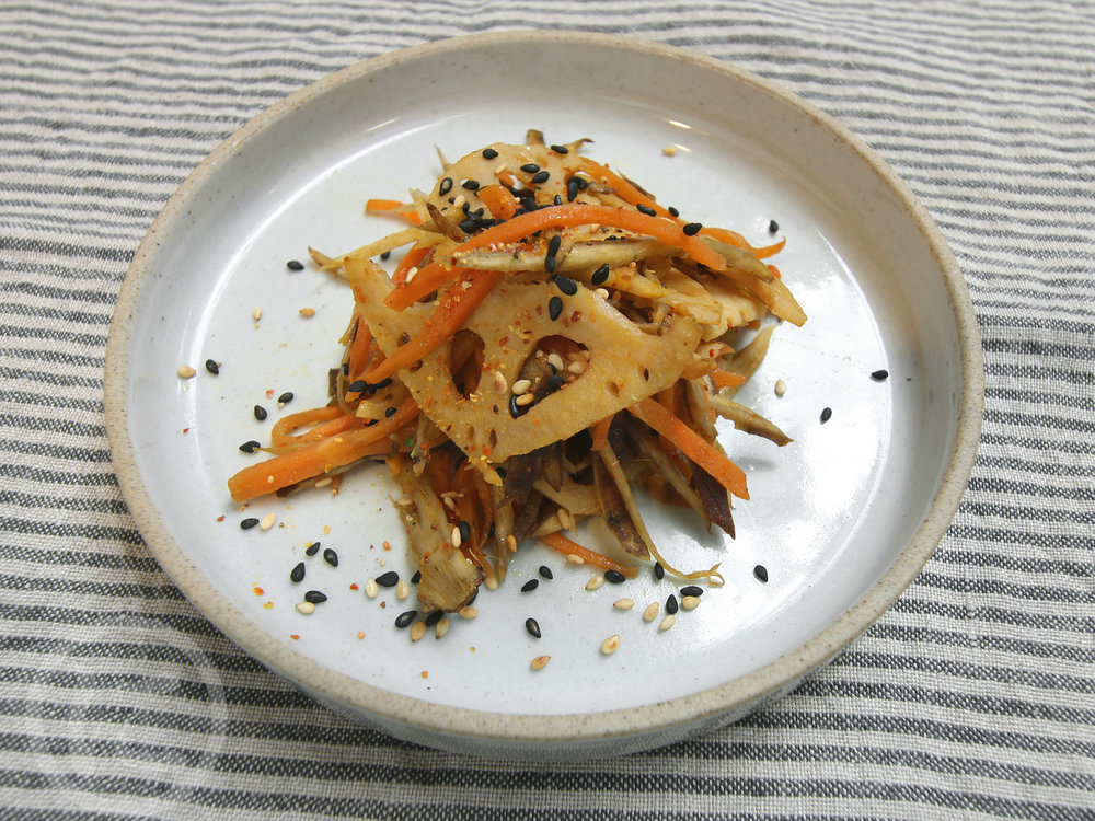 Kinpira  Sauteed burdock root, carrot and lotus root