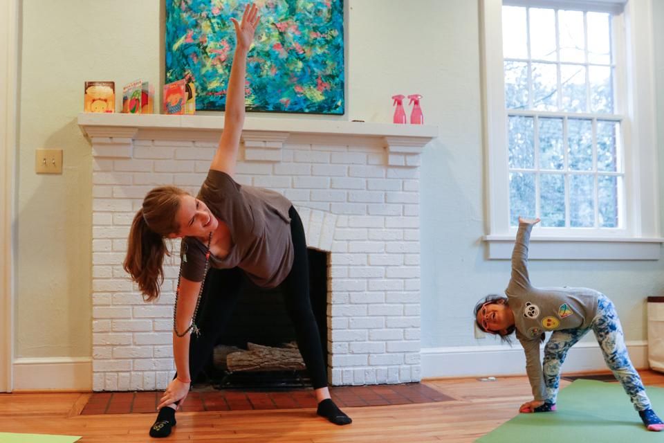 Melanie Zareie teaches kids yoga at ReBlossom in Athens, Georgia, on March 1, 2018.
