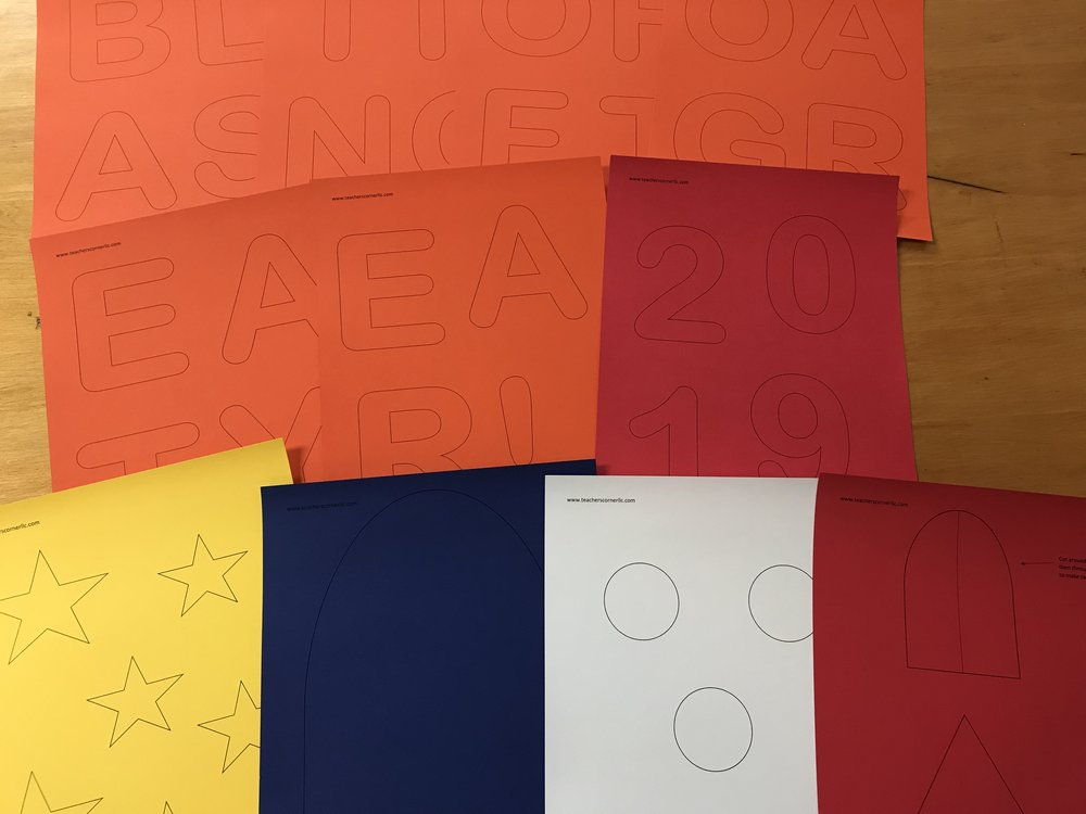 STEP 2: Use the stencil to draw all of the shapes onto card stock (or just print directly onto the card stock, if you can).