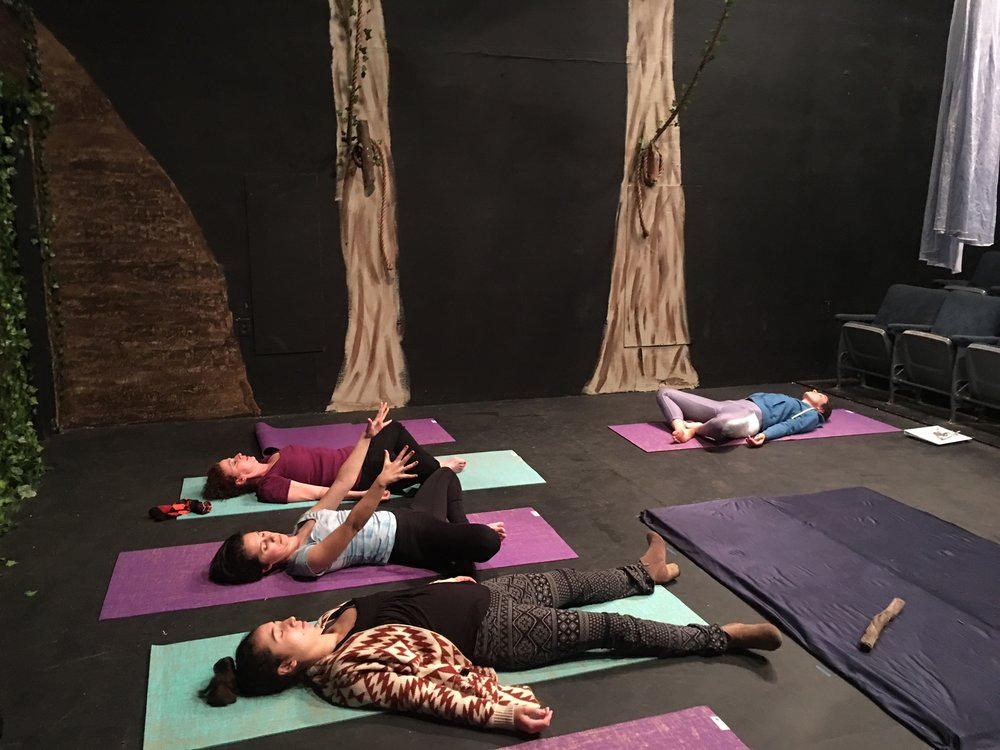 - Katie Rotolo leading a yoga practice for the cast and crew of The Porters of Hellsgate's The Tempest at the Whitmore-Lindley Theatre in North Hollywood.