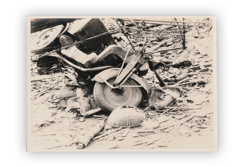 Image of a photograph showing the aftermath of bombings in Japan.