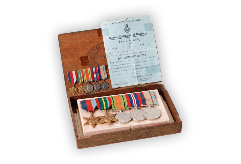 Image of Royal Australian Airforce medals and certificate of discharge.