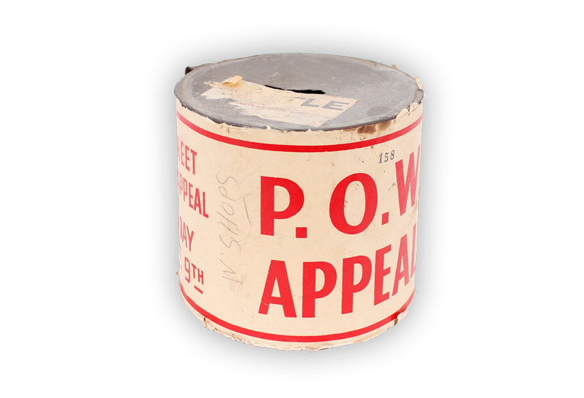 Image of collection tin used in fundraising appeal for Prisoners Of War.
