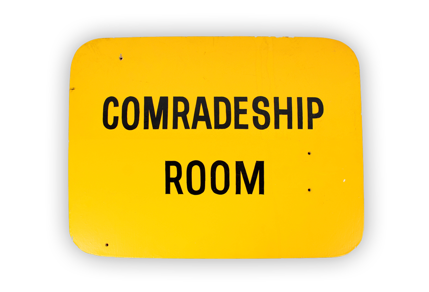 Image of sign for comradeship room from Melbourne Legacy club.