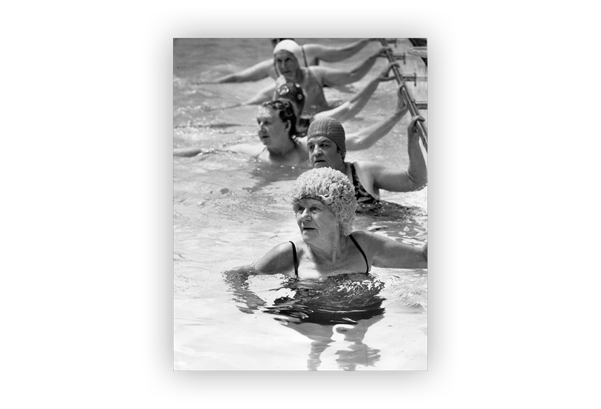 Image of Legacy widows taking part in swimming lessons.