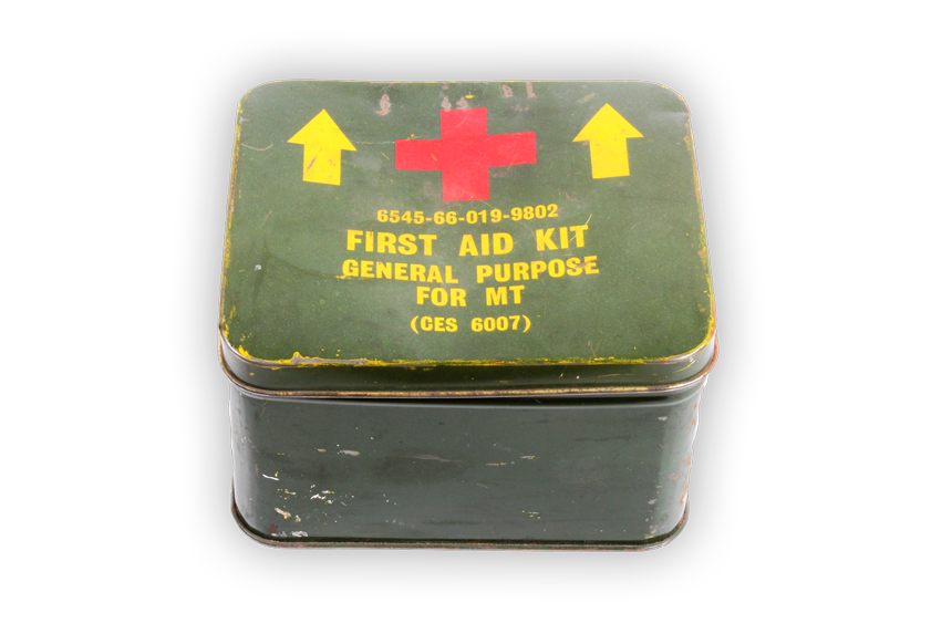 Image of a standard issue first aid kit from Vietnam War.