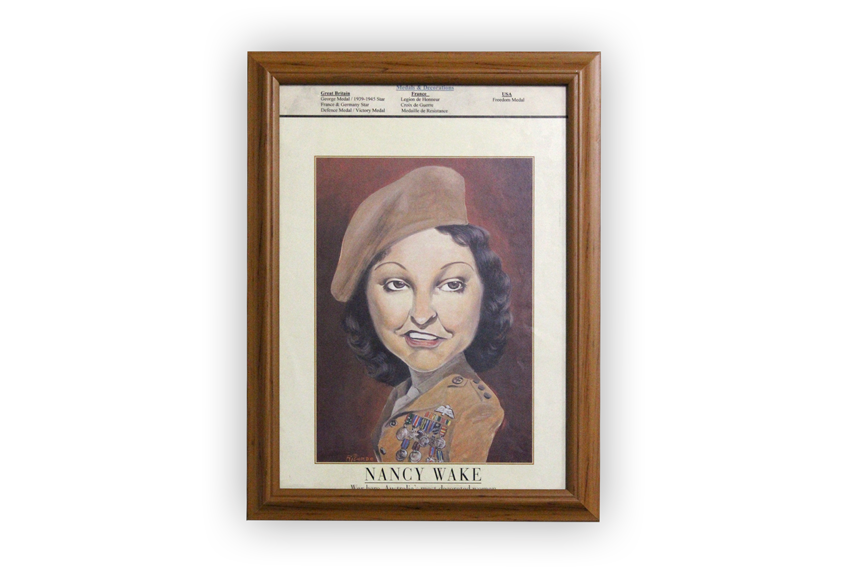 Image of a caricature of Nancy Wake.