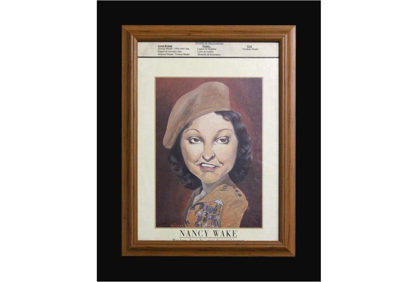Image of caricature of Nancy Wake.