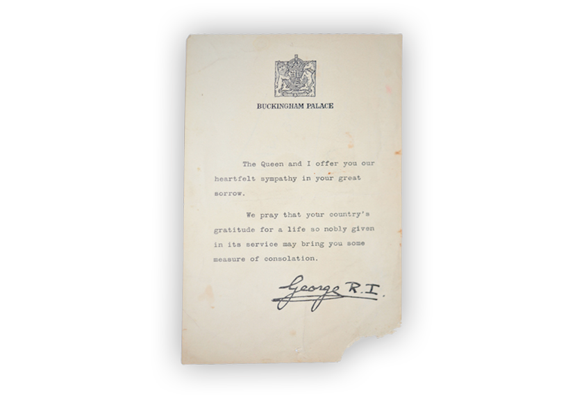 Image of a condolence letter sent by King George to an Australian family.