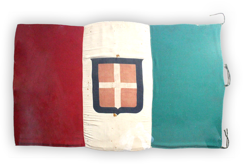 Image of an Italian Flag captured by Australian forces during the Battle of El Alamein.